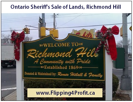 Ontario Sheriff's Sale of Lands, 241 Valleymede Drive, Richmond Hill