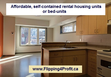 Conversion non-residential properties into affordable, self-contained rental housing units orbed-units